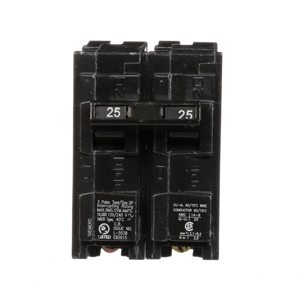 Siemens Q225 2-Pole 120/240 VAC 25 Amp 10 kA Plug-In Common Trip Circuit Breaker