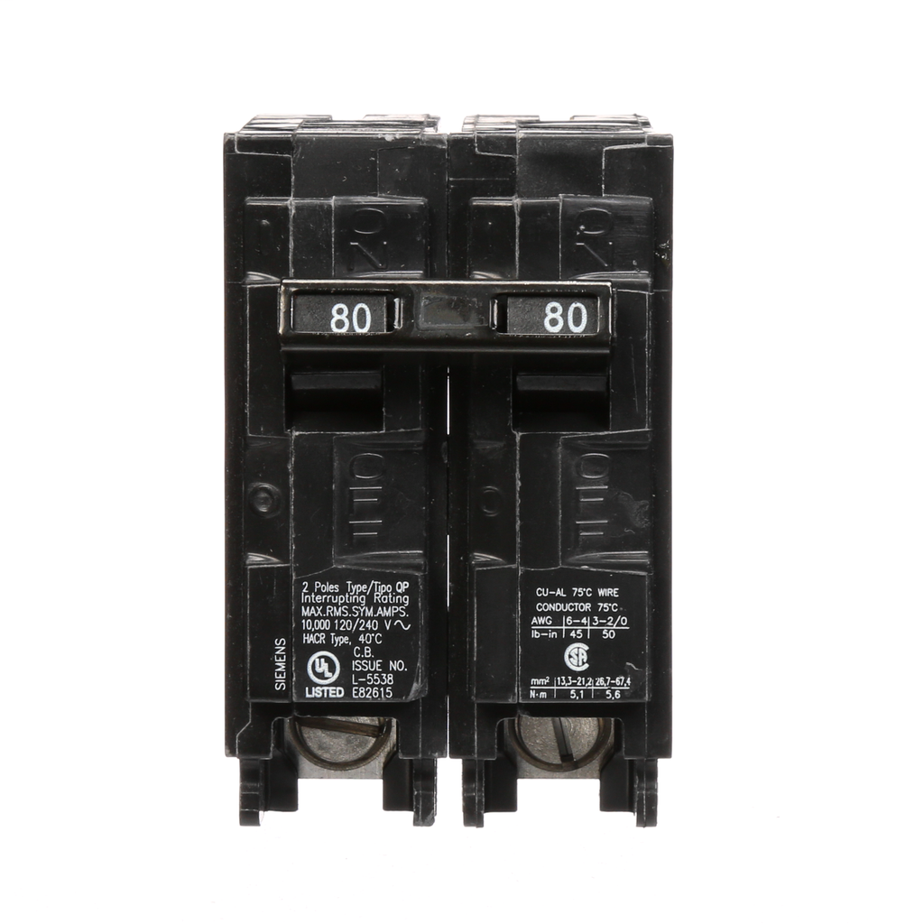 Siemens Industry Q280 2-Pole 120/240 VAC 80 Amp 10 kA Plug-In Common Trip Circuit Breaker