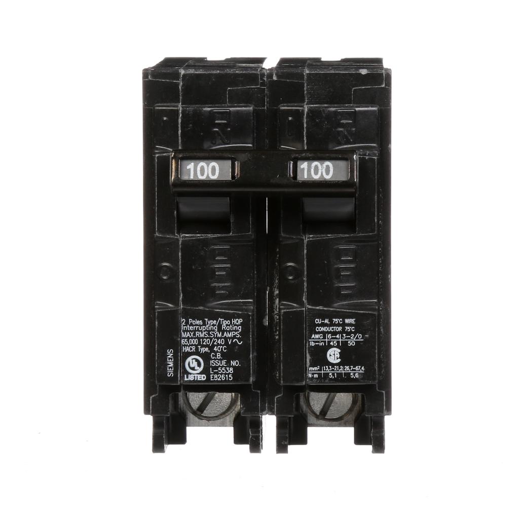 Siemens Industry Q2100HH 100 Amp 65 kA 120/240 Volt 2-Pole Type HQP Circuit Breaker