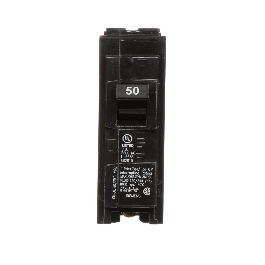 Siemens Q150 1-Pole 50 Amp 120 VAC 10 kA Plug-In Circuit Breaker