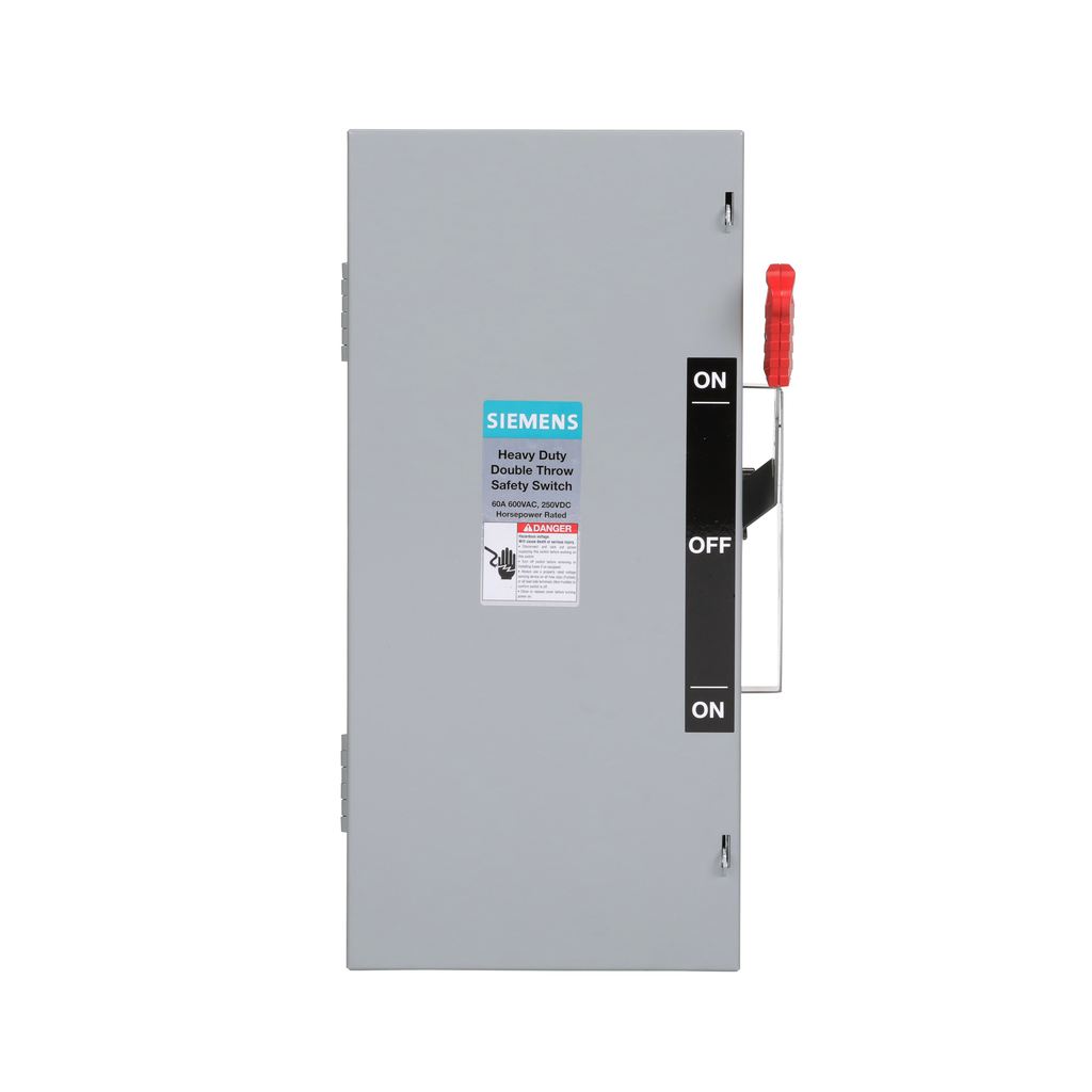 Siemens Industry DTNF362 600 VAC 60 Amp 3-Pole 3-Wire NEMA 1 Heavy Duty Non-Fusible Safety Switch