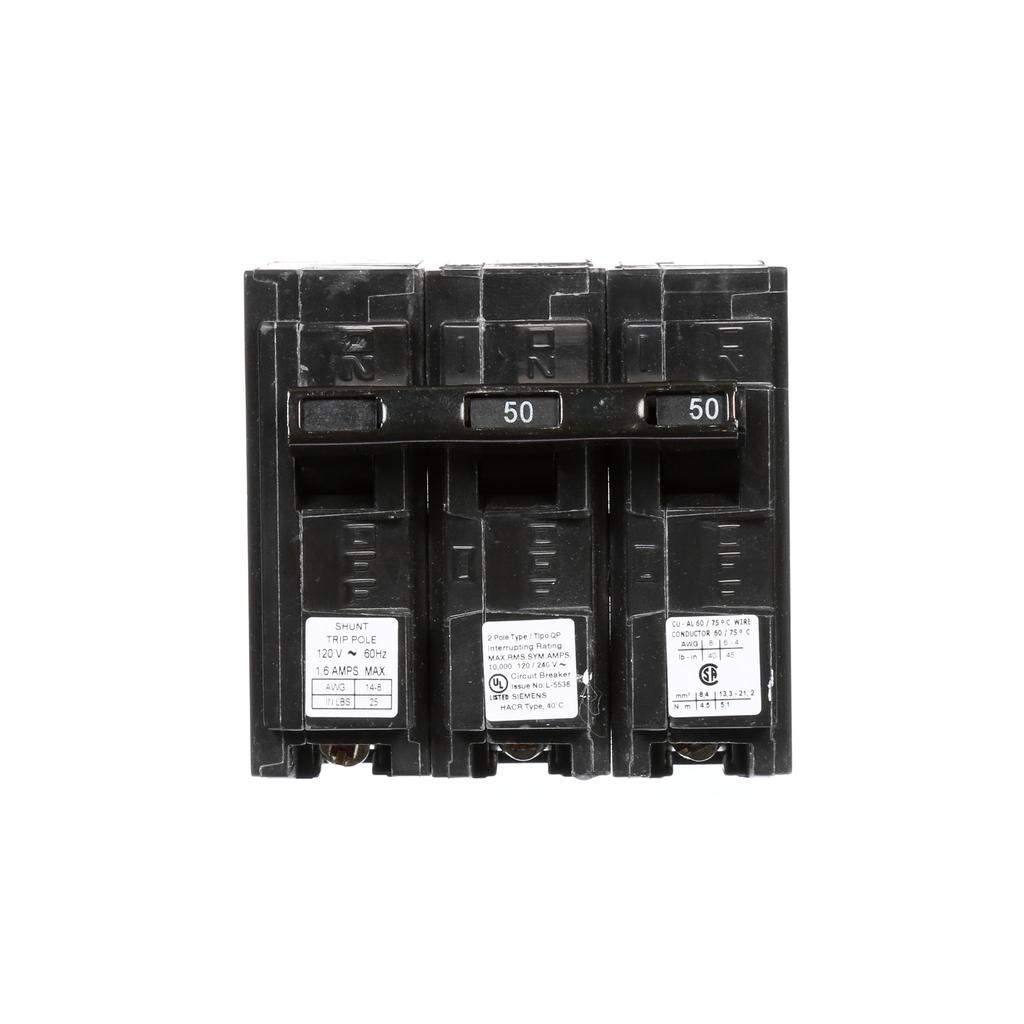 Siemens Industry Q25000S01 2-Pole 50 Amp 120/240 VAC 10 kA 120 Volt Shunt Trip Molded Case Circuit Breaker