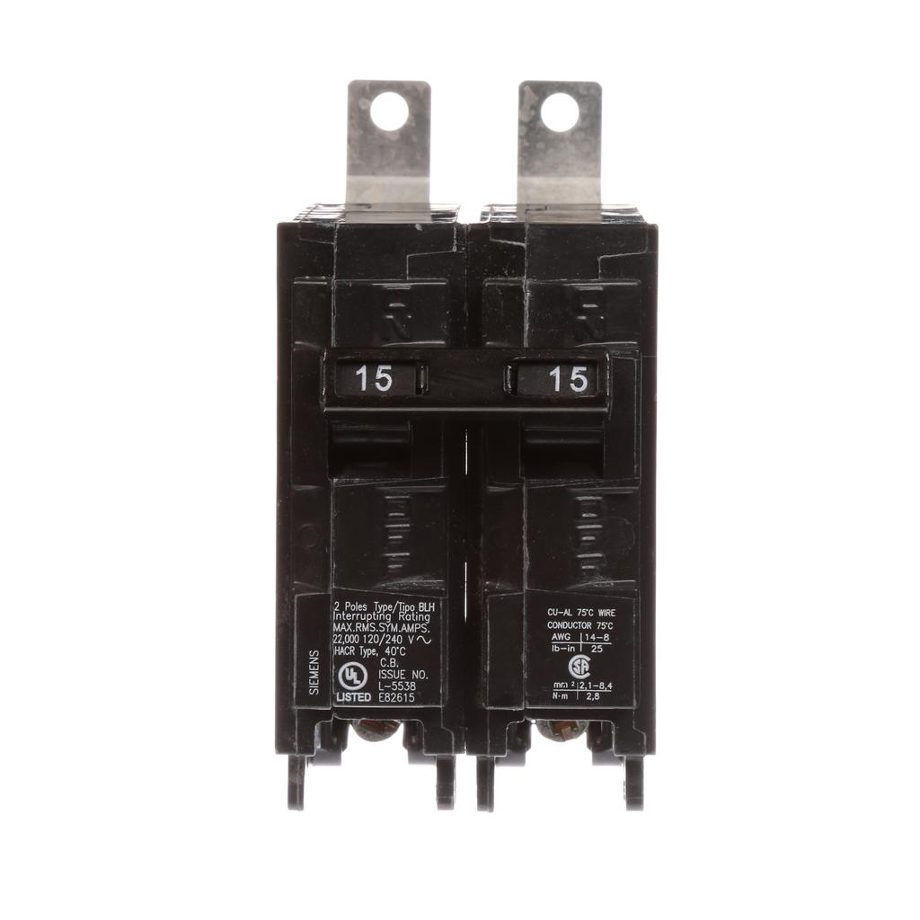 Siemens Industry B215H 2-Pole 15 Amp 120/240 VAC 22 kA Bolt-On Molded Case Circuit Breaker