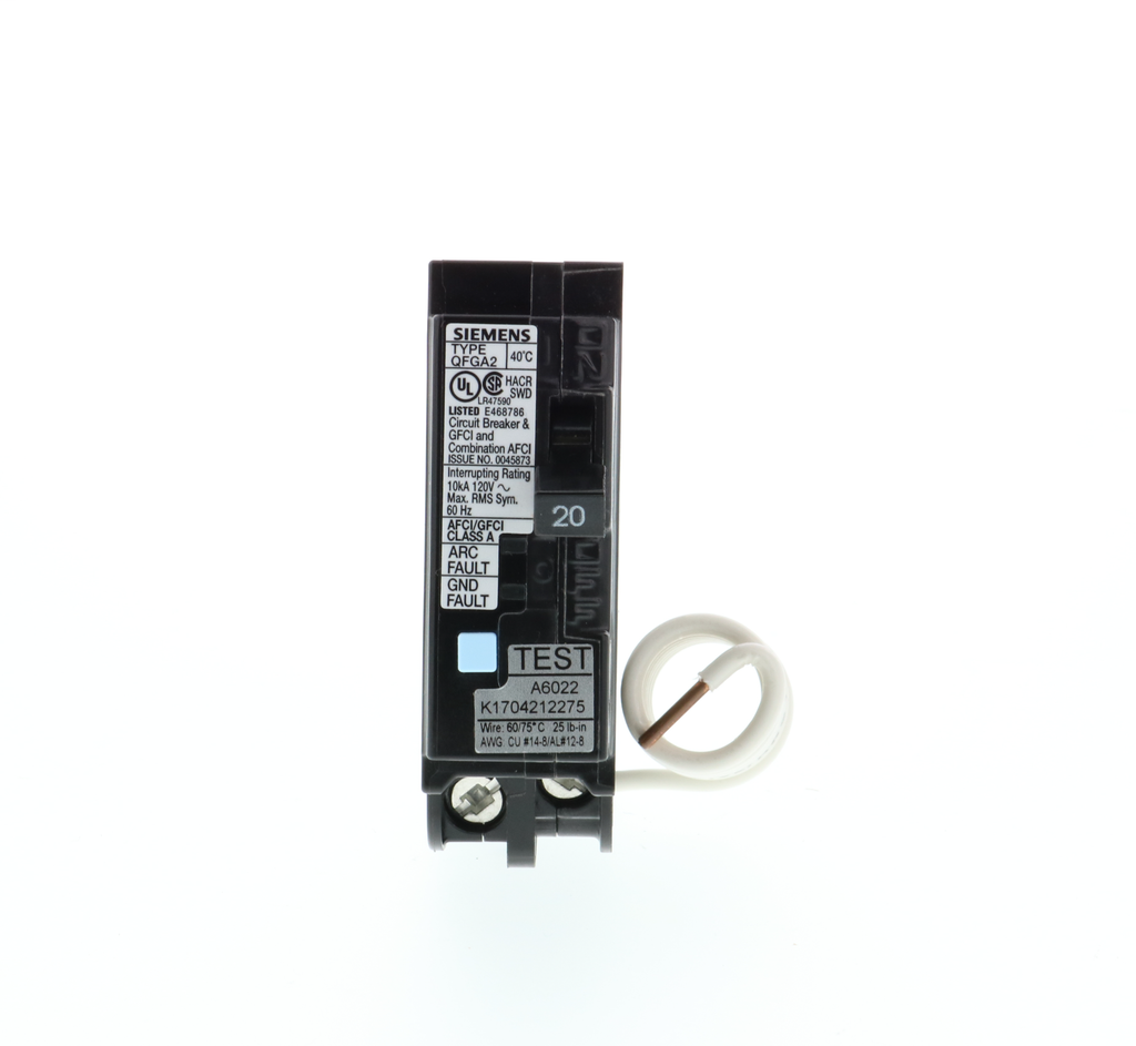 Siemens Q120DF 1-Pole 20 Amp 120 VAC 10 kA Dual Function Arc Fault or Ground Fault Circuit Breaker