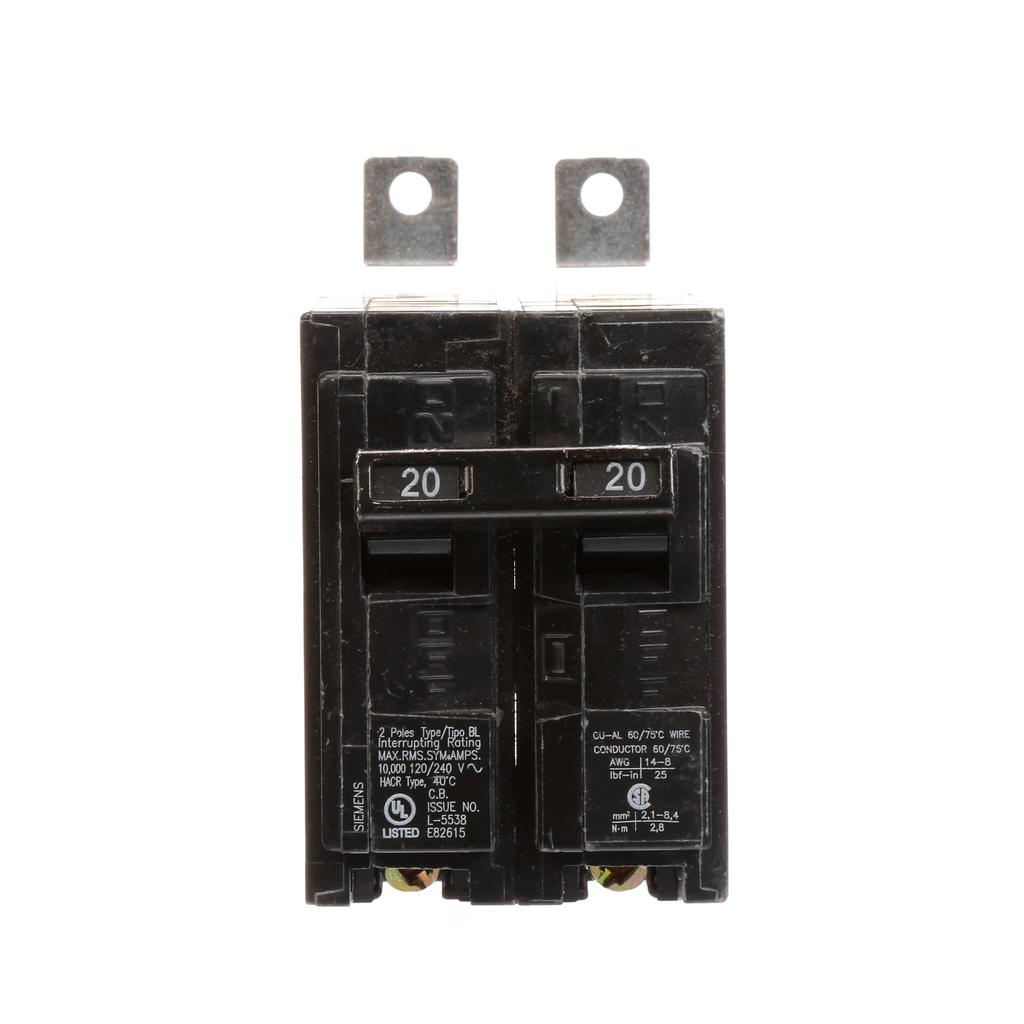 Siemens B220 2-Pole 20 Amp 120/240 Volt 10 K Circuit Breaker