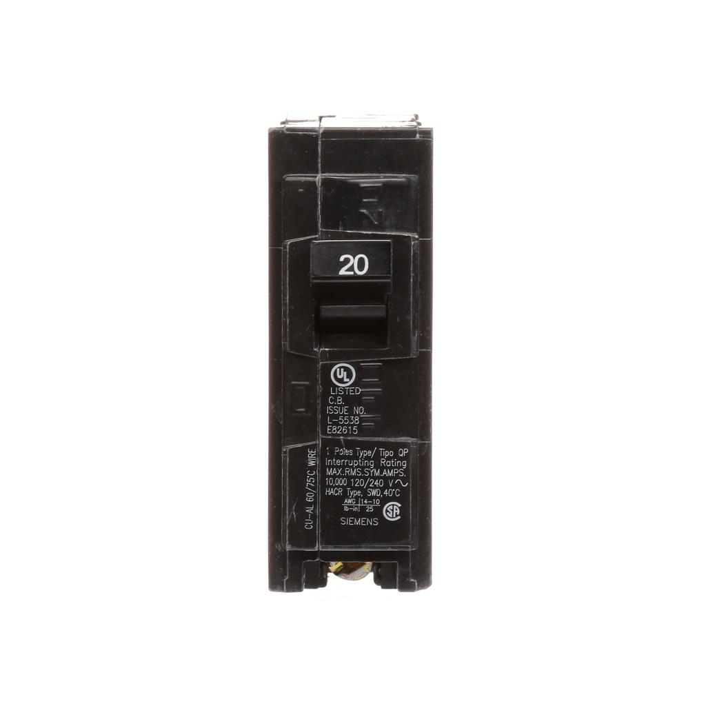 Siemens Industry Q120 1-Pole 20 Amp 120 VAC 10 kA Plug-In Circuit Breaker