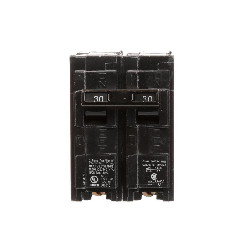 Siemens Industry Q230 2-Pole 120/240 VAC 30 Amp 10 kA Plug-In Common Trip Circuit Breaker