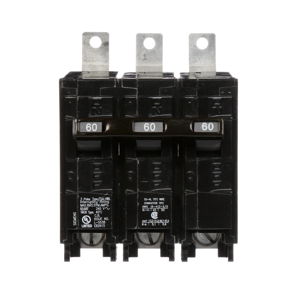 Siemens Industry B360HH 3-Pole 60 Amp 240 VAC 65 kA Bolt-On Molded Case Circuit Breaker
