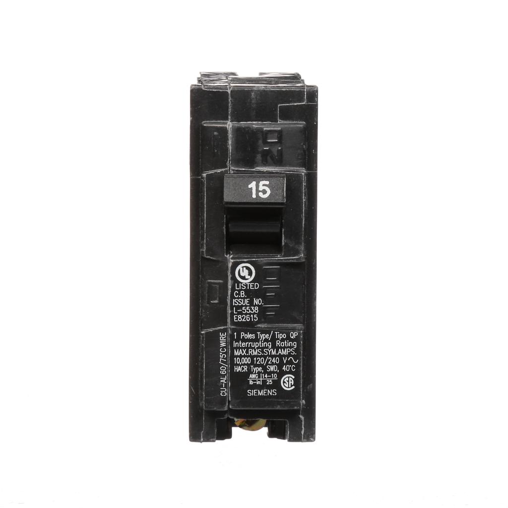 Siemens Industry Q115 1-Pole 120 VAC 15 Amp 10 kA Plug-In Circuit Breaker