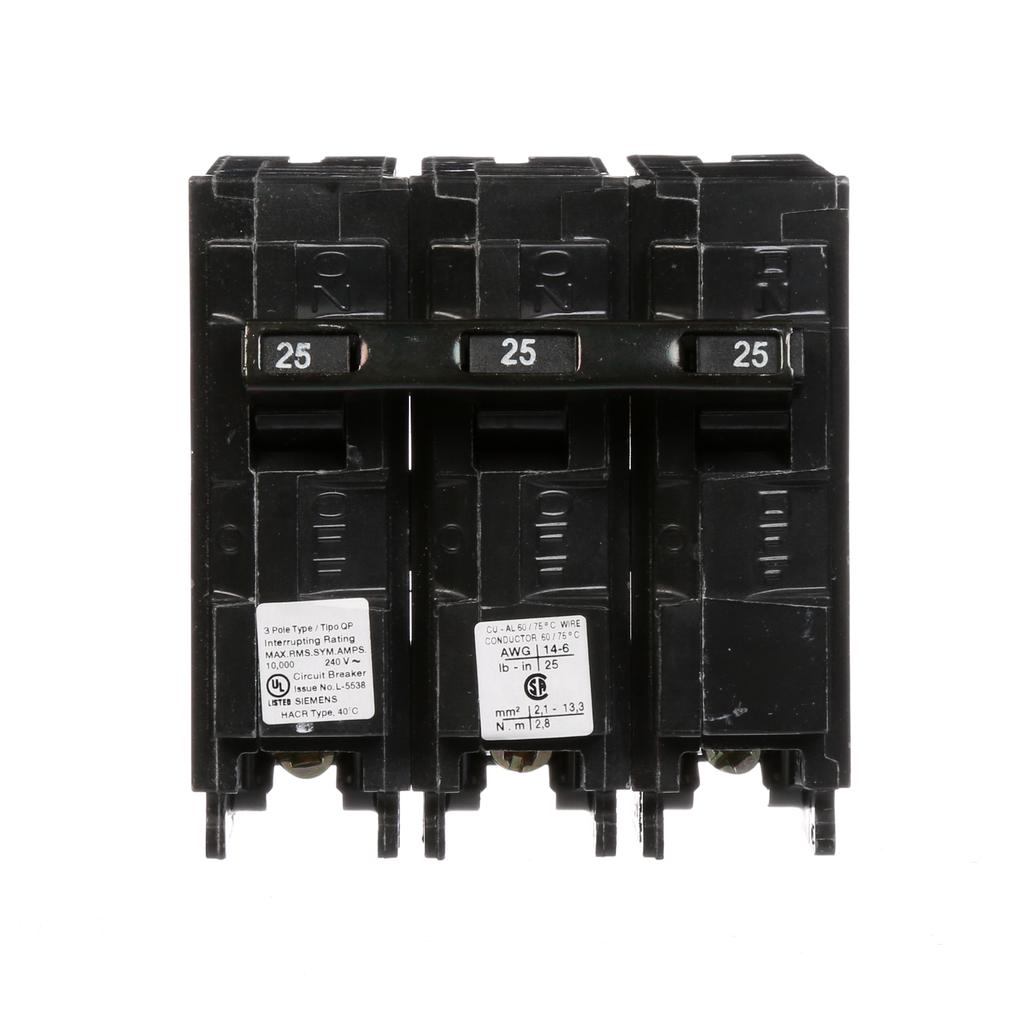 Siemens Industry Q325 Breaker 25 Amp 3-Pole 240 Volt Circuit Breaker