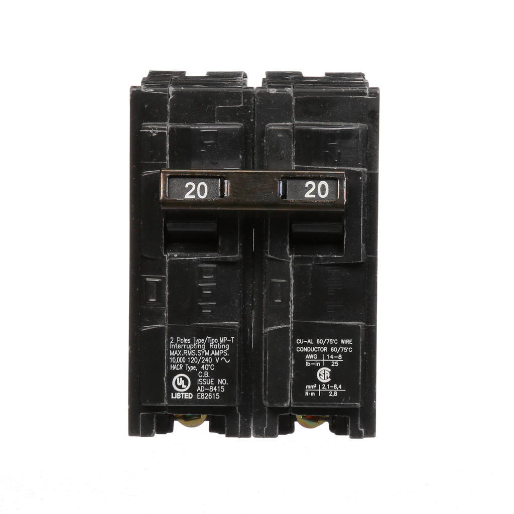 Siemens MP220 2-Pole 120/240 VAC 20 Amp 10 kA Plug-In Common Trip Circuit Breaker