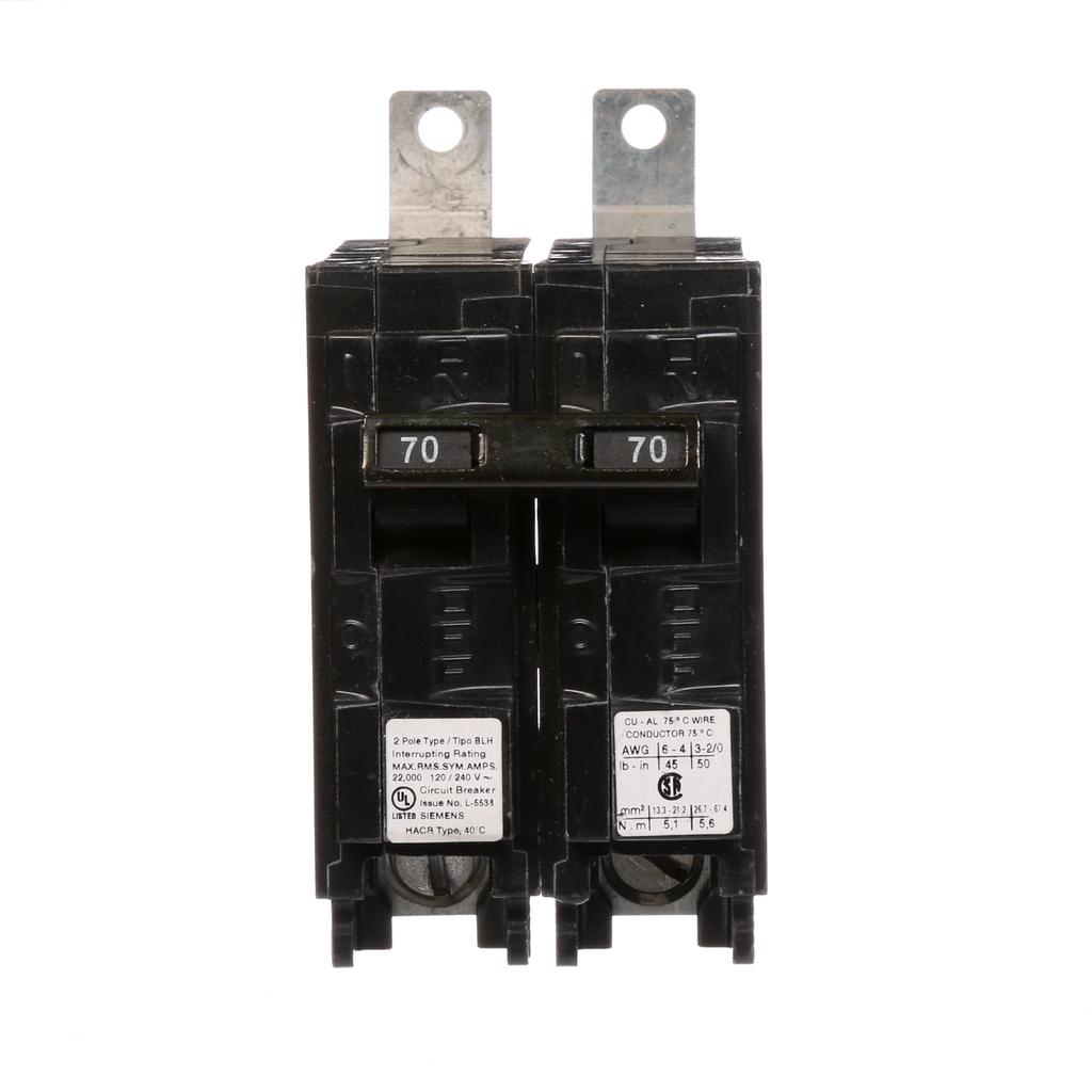 Siemens Industry B270H 2-Pole 70 Amp 120/240 VAC 22 kA Bolt-On Molded Case Circuit Breaker
