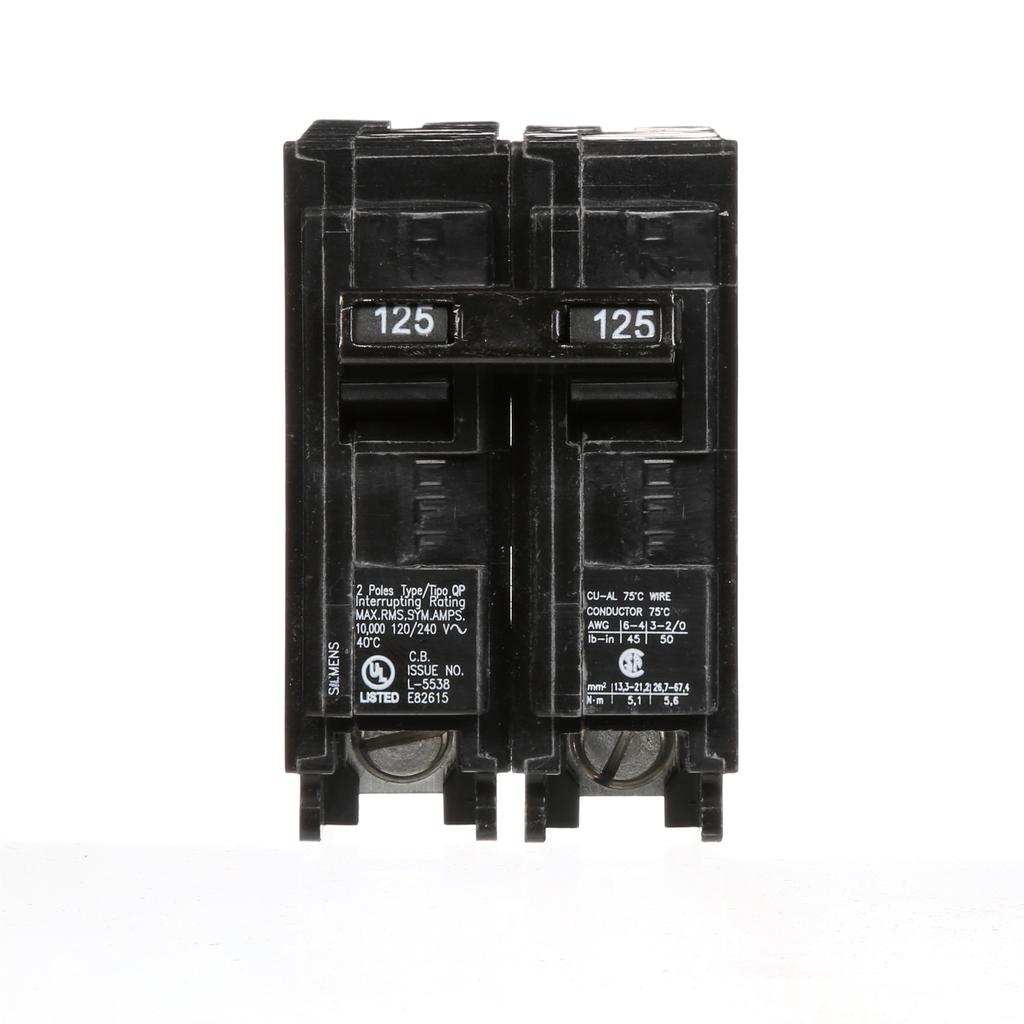 Siemens Industry Q2125 2-Pole 120/240 VAC 125 Amp 10 kA Plug-In Common Trip Circuit Breaker