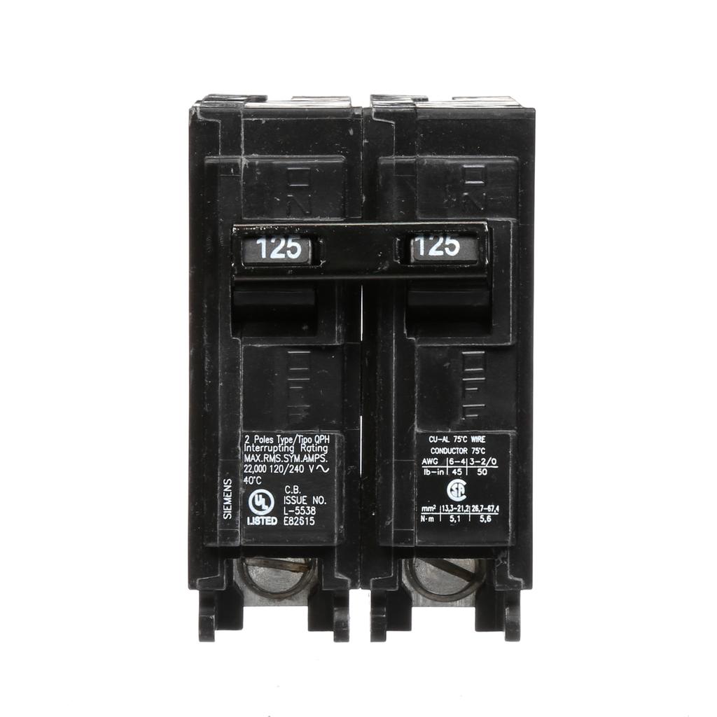Siemens Industry Q2125H 2-Pole 120/240 VAC 125 Amp 22 kA Plug-In Common Trip Circuit Breaker