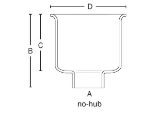 """861-58i Cast Iron Square Floor Sink 8"""" x 8"""" – No-Hub Connection"""