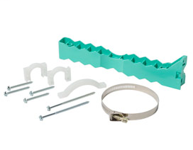 """570-20 Plus 5 kit: 1 bracket 2 straps 1 clamp one 5"""" stainless steel band PipeTitan™"""