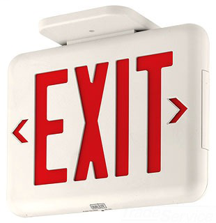 DUAL EVEURWE STANDARD EMER. EXIT, RED LETTERS, WHITE