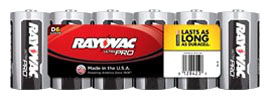 RAYO ALD SIZE D ALK IND BATTERY 6