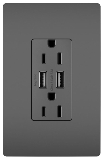 PAS TM826USBBK 15A 3.1 USB CHGR/RECEPT BLK