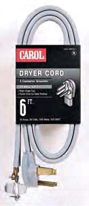 CARO 05656 6FT GRY 3W DRYER CORD