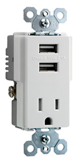 Combination USB Charger and Receptacle