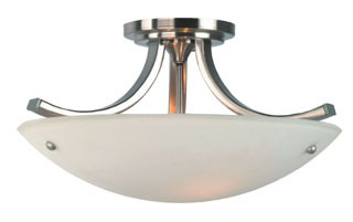 FEIS SF189BS/PN SEMI FLUSH MOUNT BRUSHED STEEL/POLISHED NICKEL