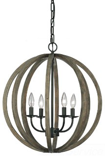 MURF F2935/4WOW/AF 4 BULB WEATHER OAK WOOD/ANTIQUE FORGED IRON CHANDELIER LARGE PENDANT