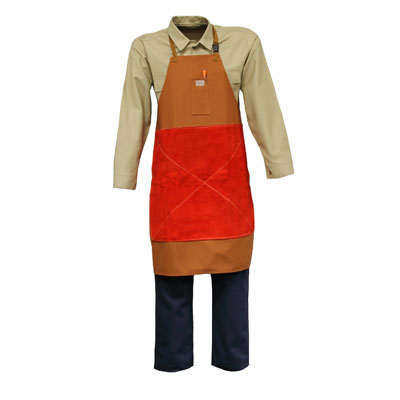 """Stanco Safety Products Size 24"""" X 18"""" Rust Brown Cotton Flame Resistant Bib Apron With String Tie Closure And Belly Patch"""
