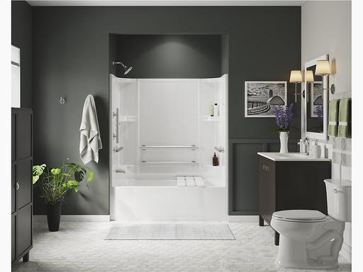"Accord®Series 7124, 60"" x 30"" ADA Bath/Shower With Grab Bars and Bath Seat"
