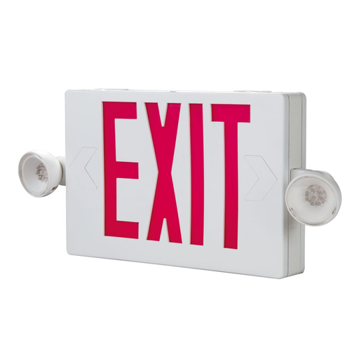 Mayer-Combo Unit, White Housing, Led-Exit, (2) LED Emergency Light Heads, Universal Face Red Letters-1
