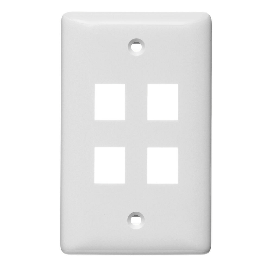 Hubbell Wiring Devices NSP104W 4-Port White Label-Less Mid-Size Wall Plate