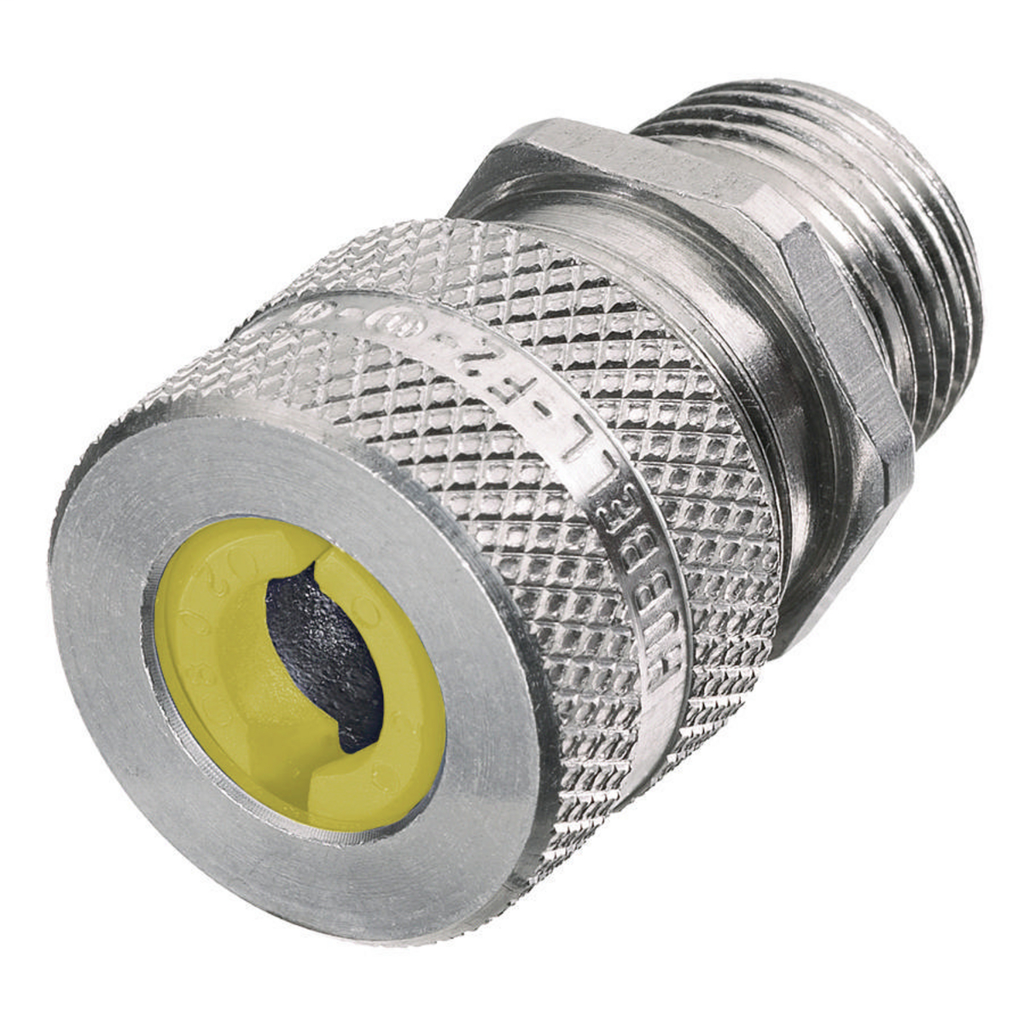 Hubbell Wiring Devices SHC1037 3/4 Inch Male Threaded 0.63 to 0.75 Inch Machined Aluminum Straight Cord Connector