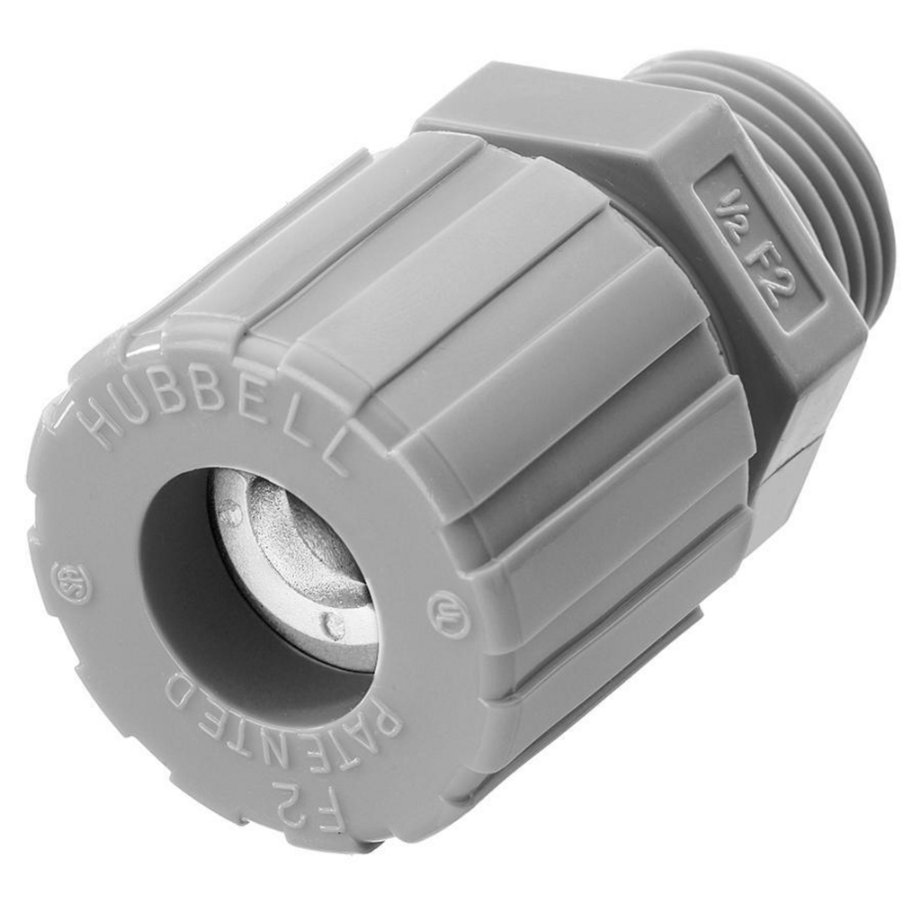 Hubbell Wiring Devices SHC1022CR 1/2 Inch Male Threaded 0.25 to 0.38 Inch Gray Nylon Straight Cord Connector
