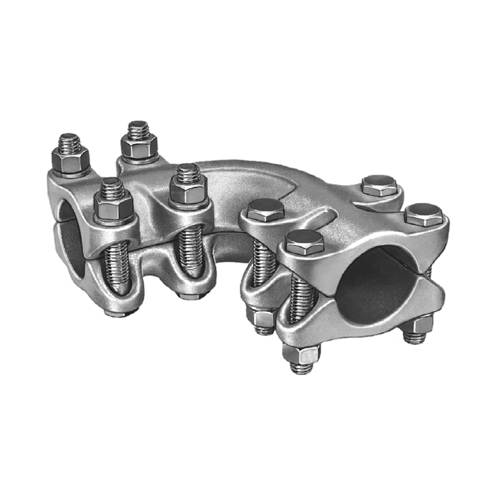 Anderson AL904040 4 Inch Run/Tap Aluminum Tube to Tube Angled Bolted Coupler