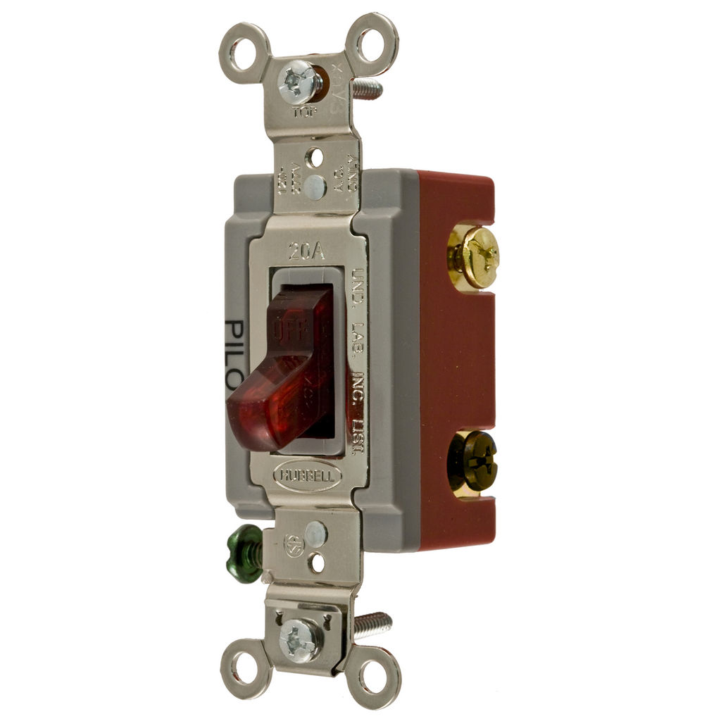 Hubbell Wiring Devices HBL1223PL 20 Amp 120/277 VAC 3-Way Red Toggle Switch