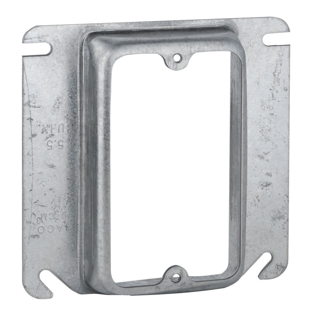 """Raco 773 3/4"""" Raised 5.5"""" Steel 1-Device Square Outlet Box Mud Ring"""