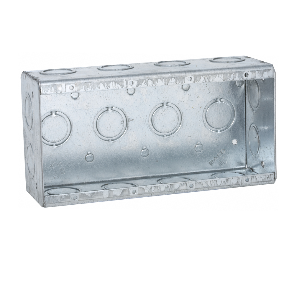 Raco 693 7-3/8 x 2-1/2 x 3-3/4 Inch 62 In Steel 4-Gang Masonry Box