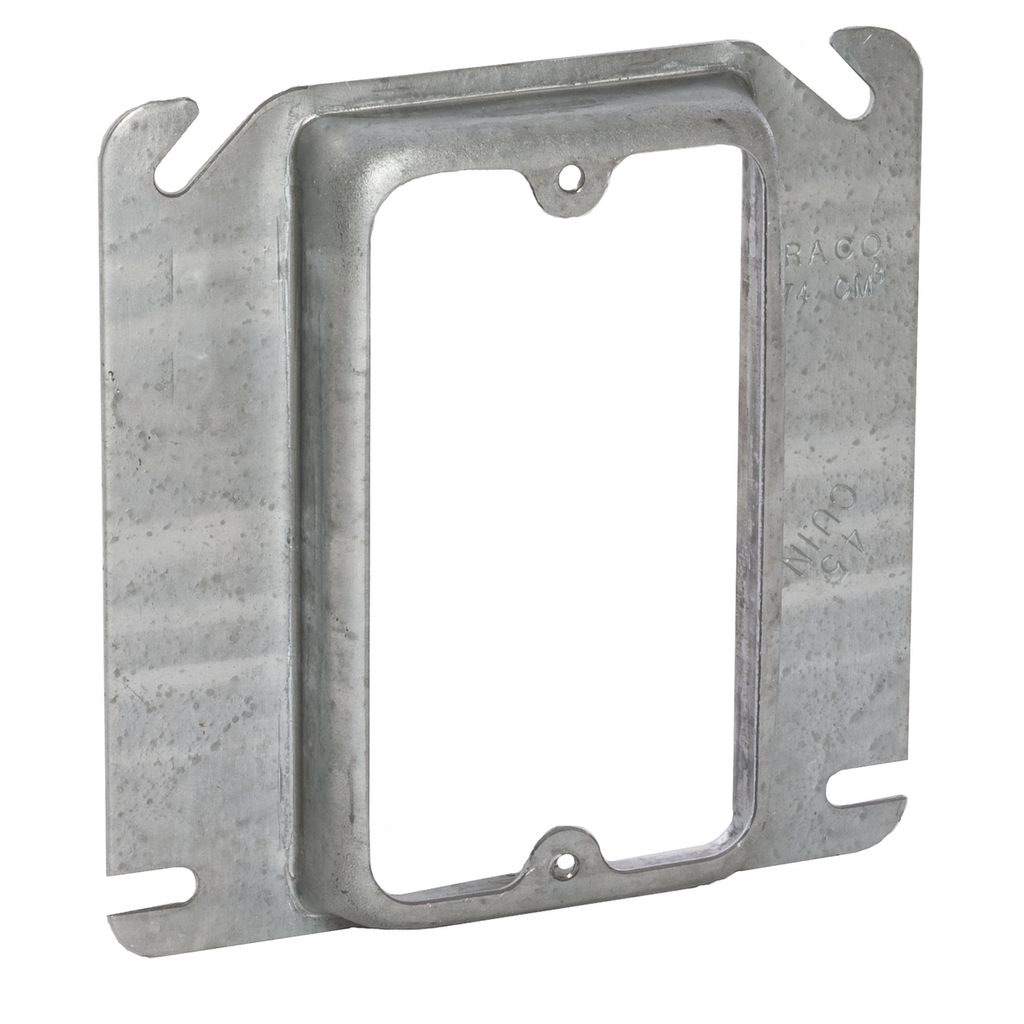 """Raco 768 5/8"""" Raised 4.3"""" Steel 1-Device Square Outlet Box Mud Ring"""