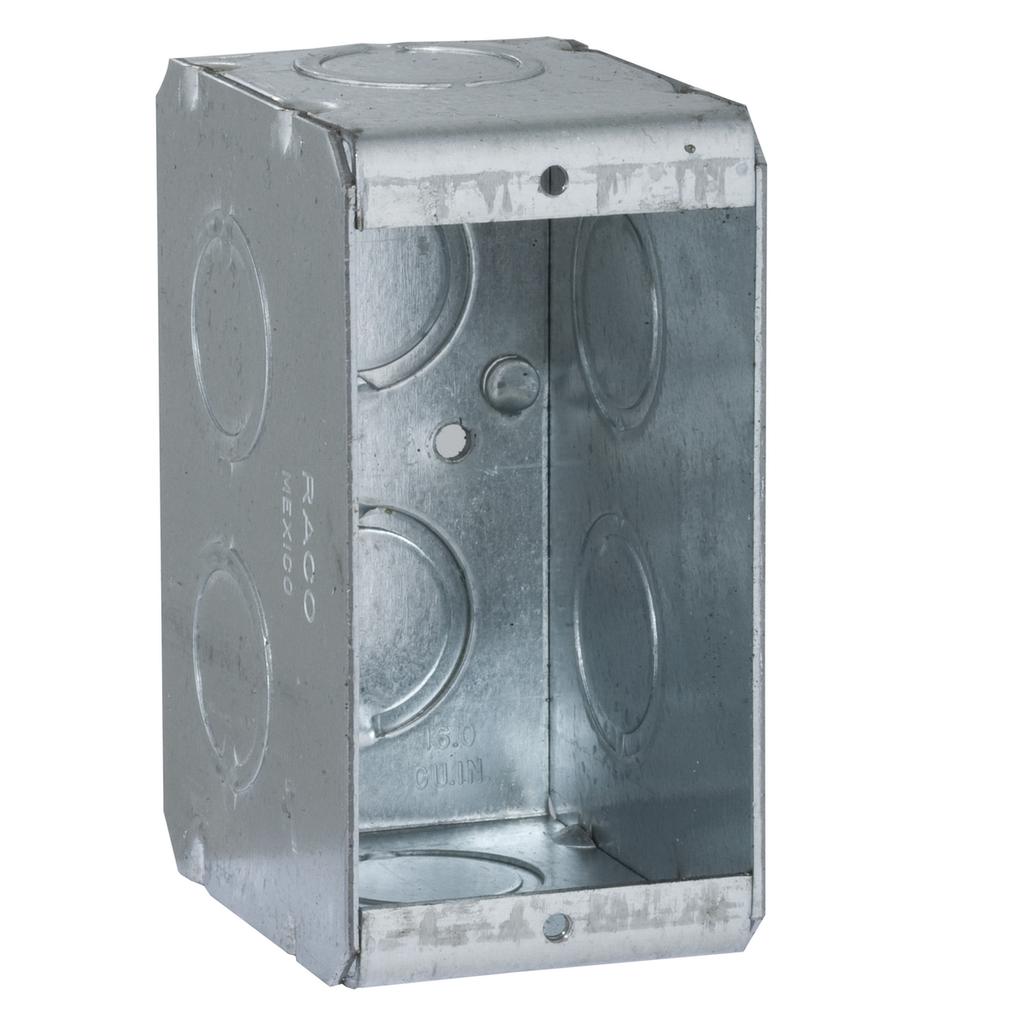 Raco 690 1-5/16 x 2-1/2 x 3-3/4 Inch 15.5 In Steel 1-Gang Masonry Box