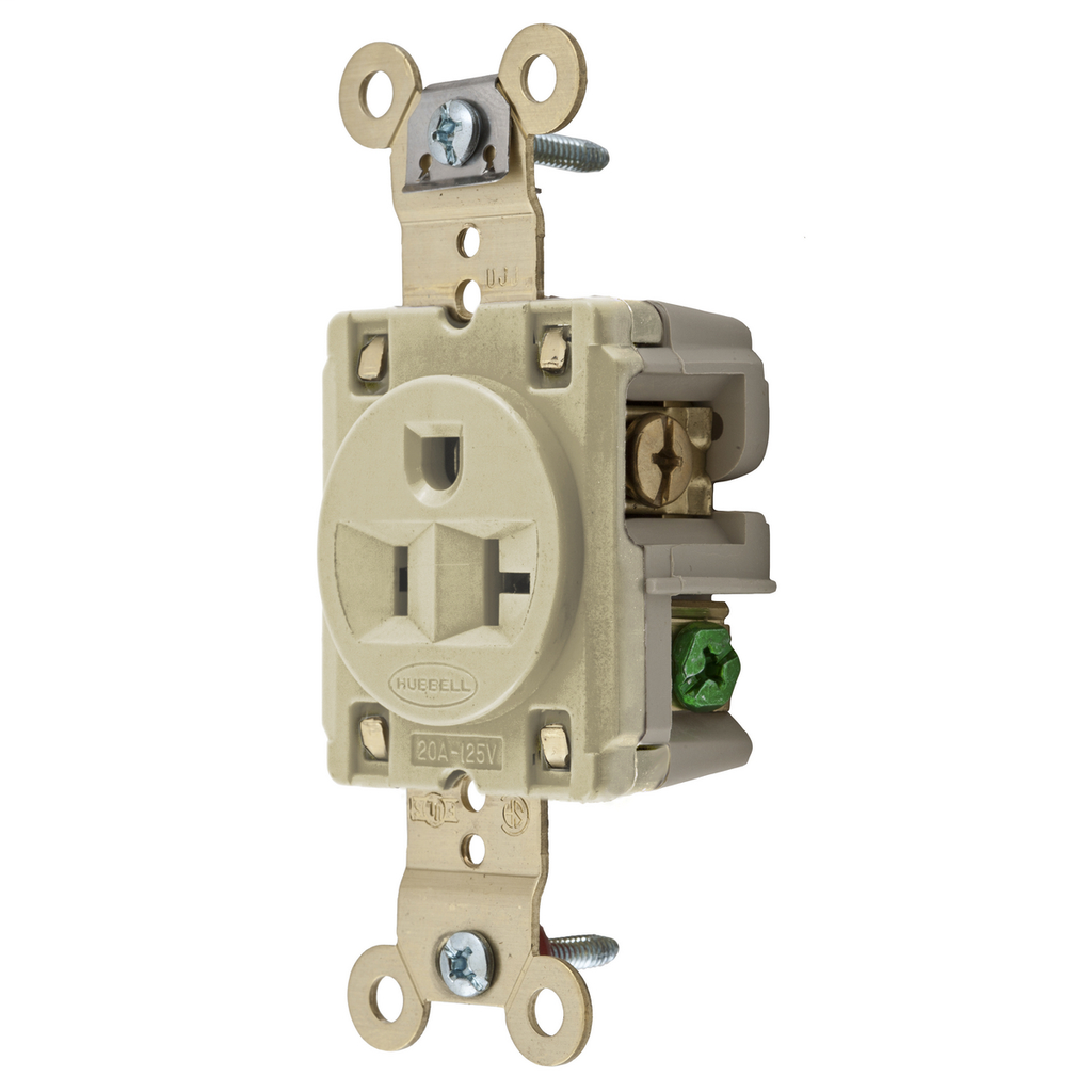 Hubbell Wiring Devices HBL5361I 20 Amp 125 Volt 2-Pole 3-Wire NEMA 5-20R Ivory Single Straight Blade Receptacle
