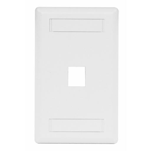 Phone/Data/Multimedia Faceplate, Face Plate, Rear-Loading, 1-Port, Single-Gang, White
