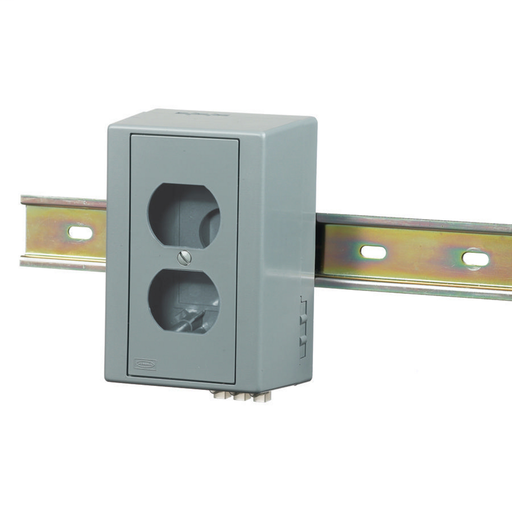 HI-IMPACT DIN Rail Utility Box, CoMulti Modeunications, 2-Port, Unloaded, Gray