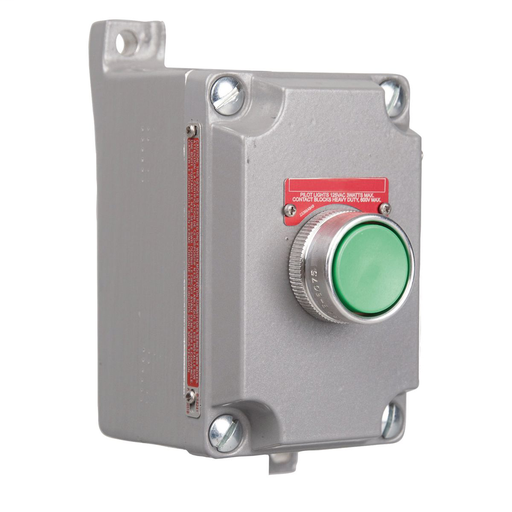 "XCS SERIES - ALUMINUM DEAD-END MOMENTARY CONTACT SINGLE PUSH BUTTONCONTROL STATION - RED BUTTON WITH ""STOP"" NAMEPLATE - HUB SIZE 3/4 INCH -1NCCONTACT RATING"
