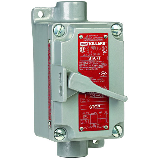 XSD/XSX/FXSD/FXSX SERIES - XSX SINGLE GANG ALUMINUM MANUAL MOTORSTARTING SWITCH - 3 POLE 3 PHASE - DEAD-END - HUB SIZE 3/4 IN