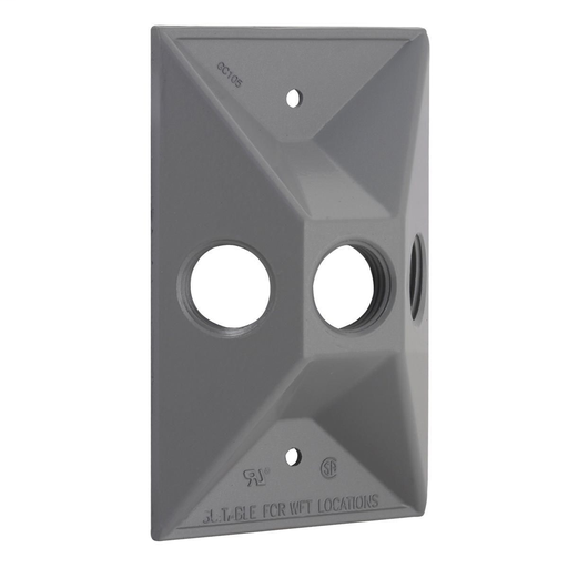 Mayer-1-Gang Weatherproof Cluster Cover, Three 1/2 in. Threaded Outlets, Gray,-1