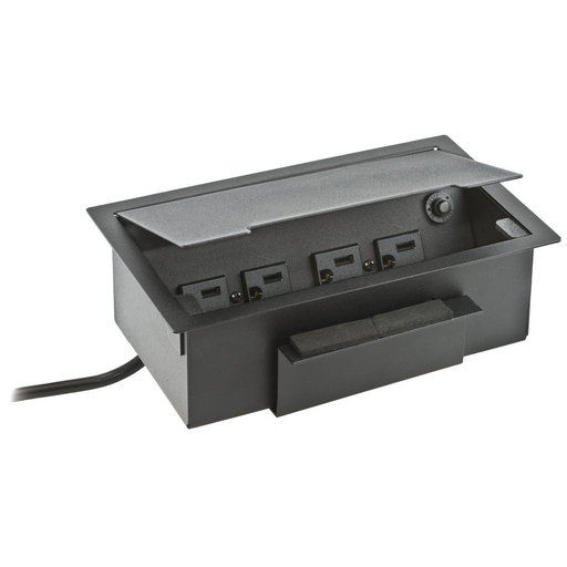 Delivery Systems, Work Surface Boxes, Recessed, 4) Power, 1) 2-Unit iStation, Black