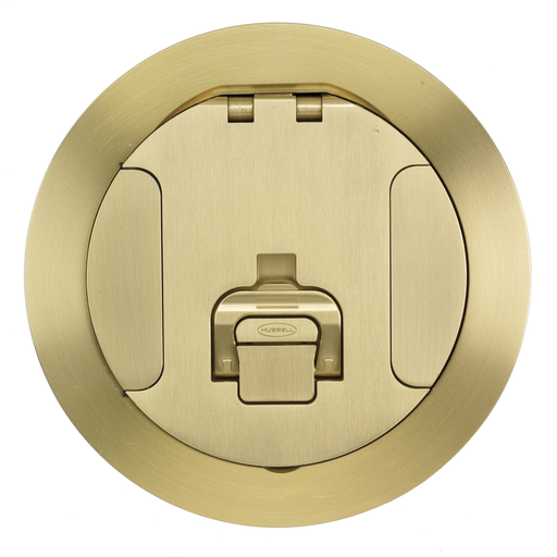 Concrete Floorboxes, Recessed, CFB2G Series, Round Cover Assembly, Brushed Brass Plated Finish