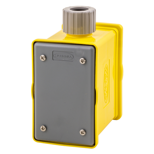 Temporary Power Products, Portable Outlet Boxes, Boxes and Plates, Box with Strain Relief, 1-Gang Front and Back, Yellow Non-Metallic, Furnished with 1) Blank Plate