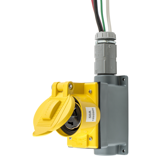 Temporary Power Products, Spider II Portable Power, Cable Sets and Receptacles, Wall Receptacle, 50A 125/250V