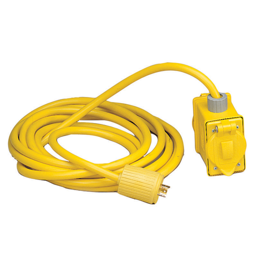 Temporary Power Products, Spider II Portable Power, Locking Portable Box, With 2) Single Receptacles and a Male Plug, 20A 125V, Yellow, With Cord Set, 25'